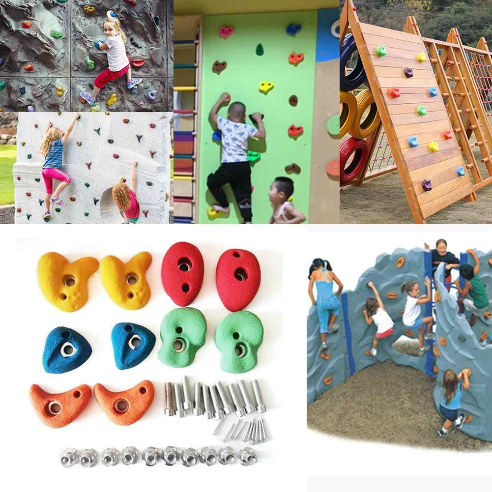 10 PCS Assorted Color Rock Stones Wall Kids Climbing Holds Hardware Without Scre