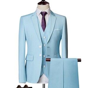 Image 3 - 純粋な色の男性のフォーマルなスーツファッションビジネスカジュアル宴会男性のスーツのジャケット + ベスト + パンツサイズ6XL 2/3ピース結婚式のためにスーツ