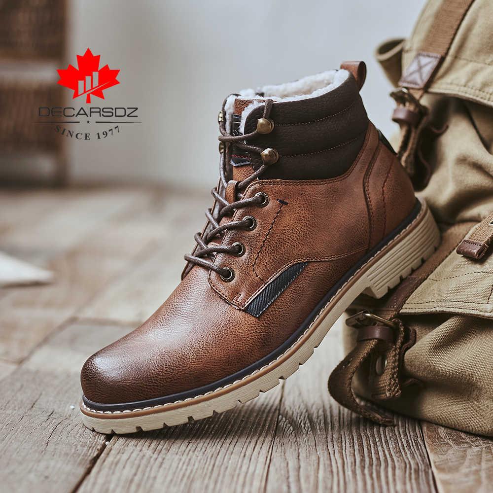 Kış kar botları erkekler 2020 yeni moda sıcak kürk botları adam rahat peluş erkek ayakkabıları rahat açık dantel-up Botas marka erkek botları
