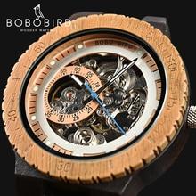 BOBO BIRD Wooden Mechanical Watch Men Luxury Retro Design Case With Gold Label B