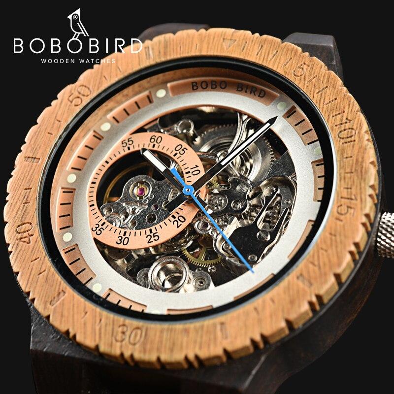 BOBO BIRD montre mécanique en bois hommes boîtier Design rétro de luxe avec étiquette en or à côté de montre-bracelet automatique et multifonctionnel