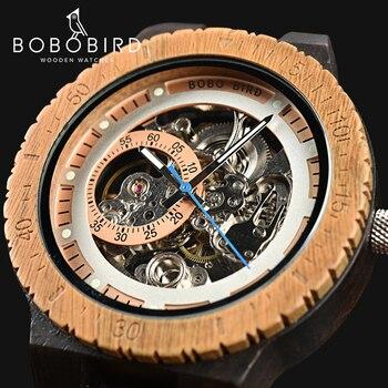 BOBO BIRD reloj mecánico de madera para hombre caja de diseño Retro de lujo con etiqueta dorada además de reloj de pulsera automático y multifuncional