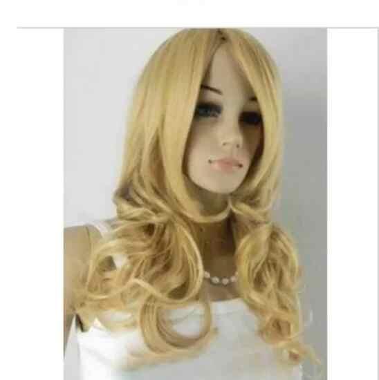 Zhaoxia + + 078308 @ Q8 @ * + + nieuwe mode lange blonde gemengde kleur golvend Kanekalon synthetisch haar pruik