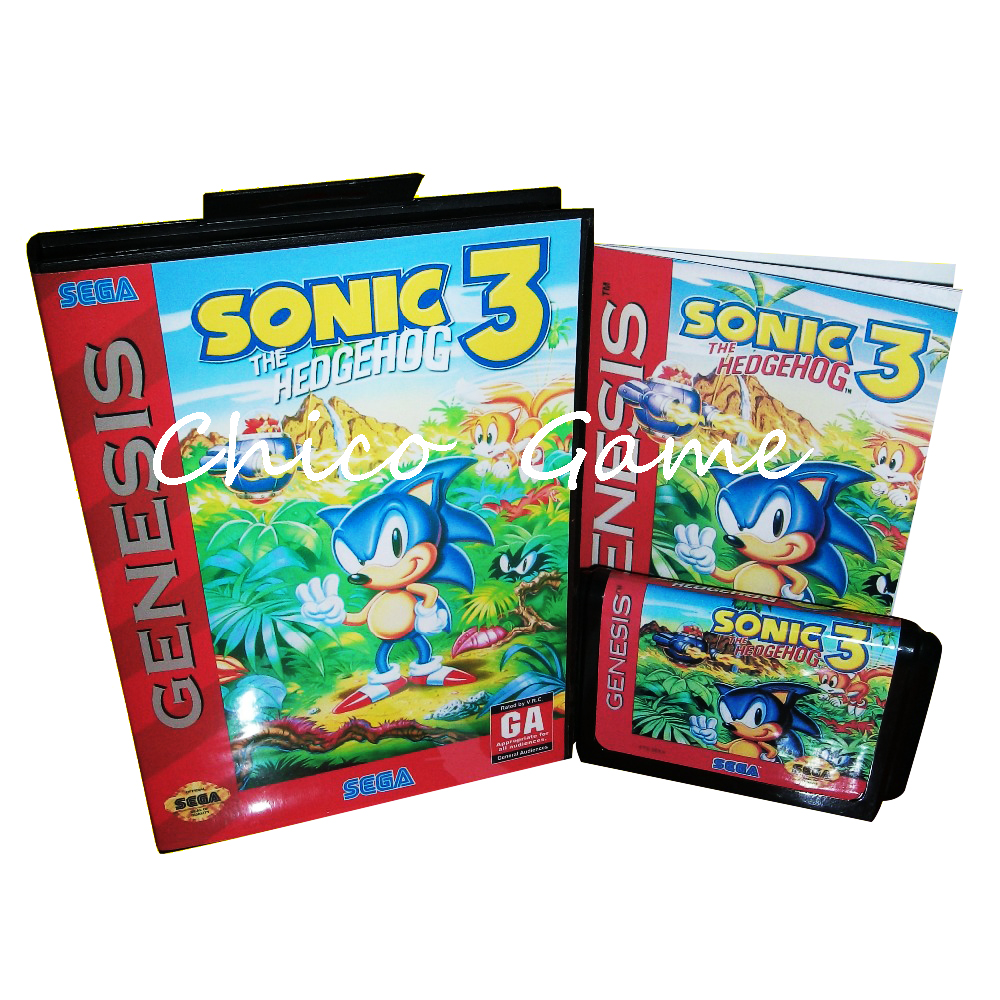 Sonic the Hedgehog 3 with Box and Manual for Sega MegaDrive Video Game Console 16 bit MD card