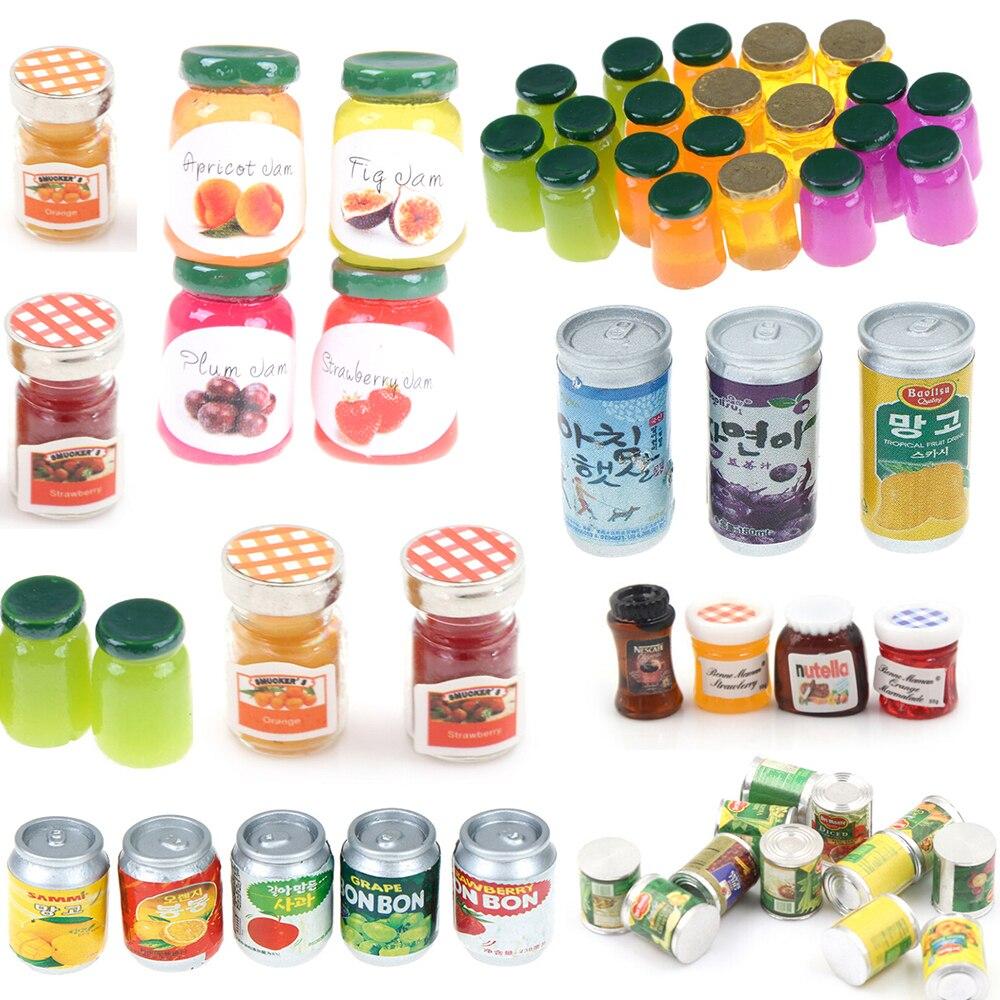 1/2/3/4/5pcs 1:12 Dollhouse Jams Miniature Kitchen Doll House Kitchen DIY Dollhouse Food Miniatures Accessories