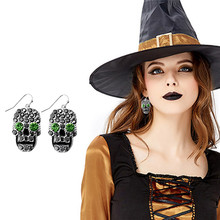 Halloween skull earrings punk style inlay zircon creative personality whimsy trinkets