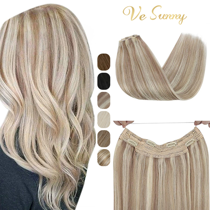 VeSunny Halo Human Hair Extensions Invisible Fishing Wire Hair Weft Ash Blonde Wire Headband Halo Extensions Machine made Remy