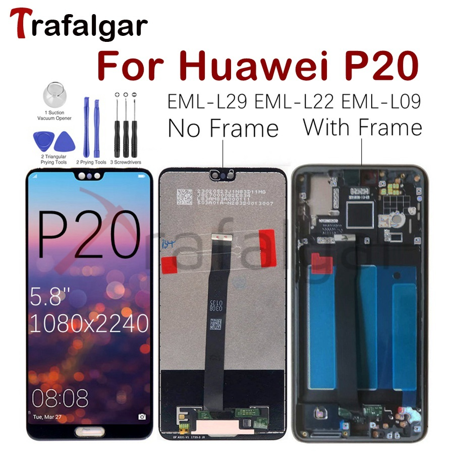 For Huawei P20 EML L29 LCD Display Touch Screen Digitizer EML L22 EML L09 EML AL00 For Huawei P20 Display With Frame Replacement-in Mobile Phone LCD Screens from Cellphones & Telecommunications