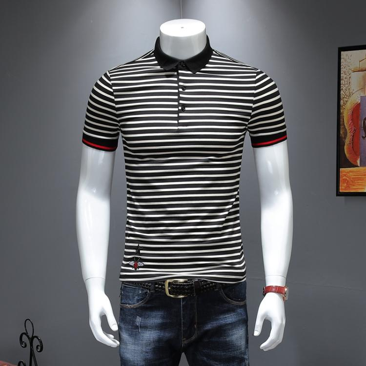 2019 Bees Embroidery Striped   Polo   Shirts Slim Short Sleeve Fashion Pattern Street Wear Cotton Camisa   Polo   Masculina 4XL 6050DS