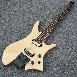 2019 wysokiej jakości bezgłowy gitara elektryczna  naturalny kolor gitara elektryczna  klon palec zarządu  czarny sprzętu  darmowa wysyłka