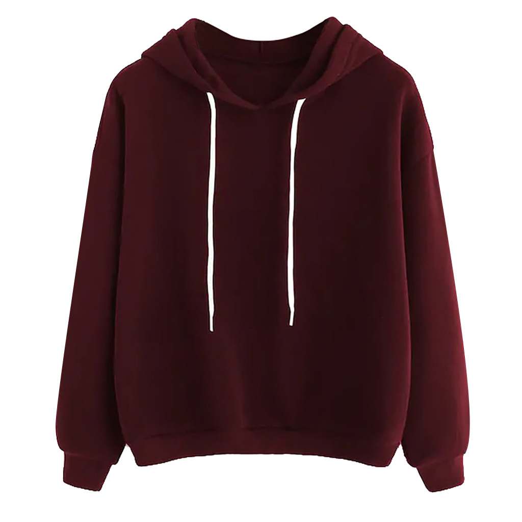 Autumn Fashion Girl Sweatshirts Clothing Women Casual Loose Tops Hoodie Pocket Sweatshirt Pullover Solid Blouse