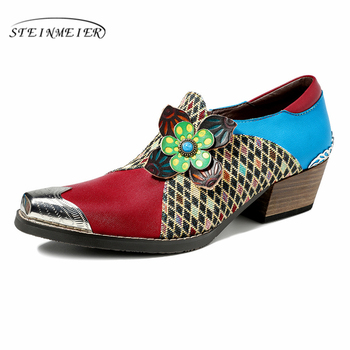 Genuine cow leather brogues designer vintage flat casual shoes Pointed toe handmade oxford shoes for women 2020 spring фото