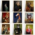 Винтажная животная голова человеческое тело холст картина скандинавский постер олень кошка собака плакаты-Портреты Печать Настенная карт...