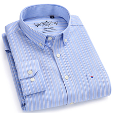 Casual Shirts Pocket Long-Sleeve Single-Patch Oxford Button-Down Throughout Striped Tops