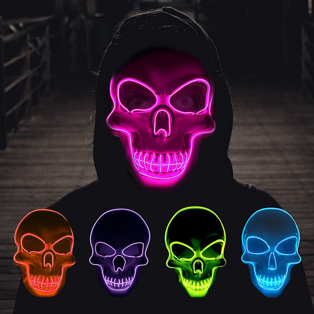 Halloween Skeleton Mask LED Glow Scary EL-Wire Mask Light Up  Festival Cosplay Costume Supplies Party Mask mardi gras 4