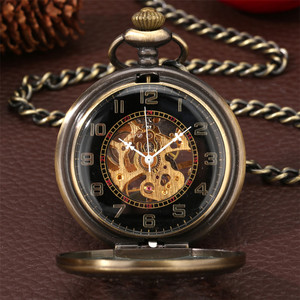 Image 2 - Bronze Hollow Mechanical Hand Winding Antique Pocket Watch Classic Antique Pocket Pendant Clock with Fob Chain