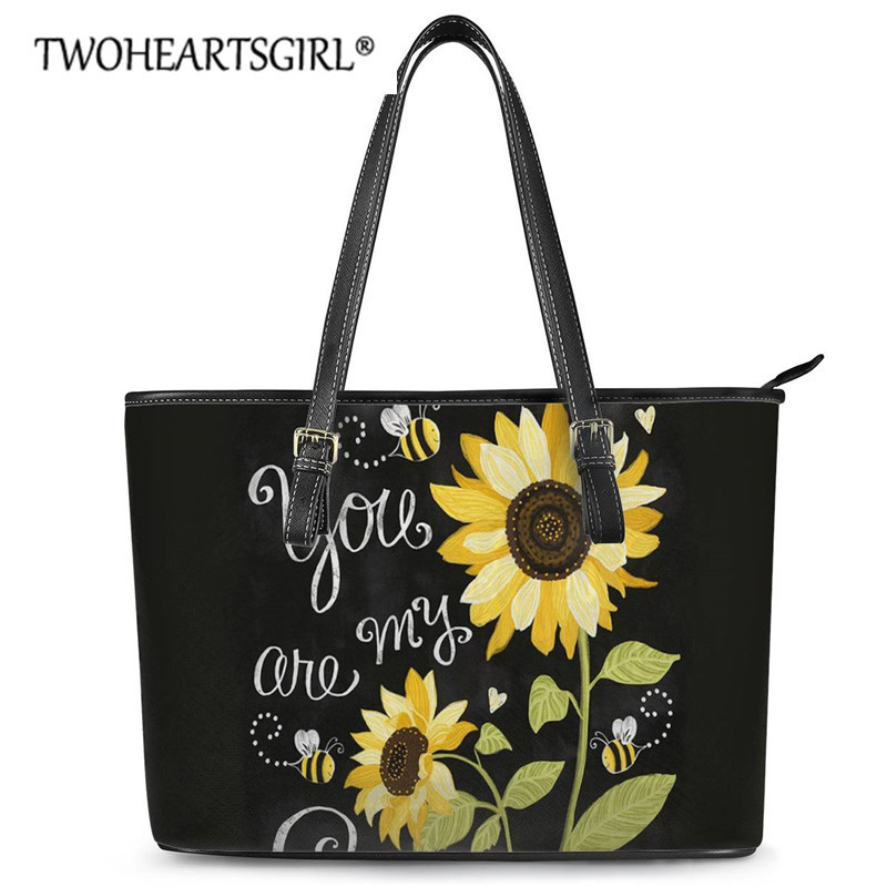 Twoheartsgirl Leather Ladies Handbag You are My Sunshine Sunflower Shoulder BagsYellow Flower Large Capacity Totes Mujer