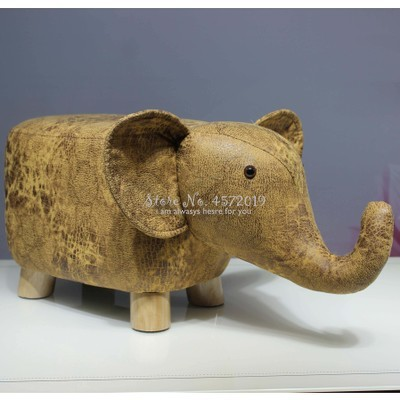 Fashion Children Cartoon Stool Calf Stool Elephant Hippo Bench Shoes Bench Stool Solid Wood Animal Stool Creative