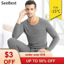 SeeBest Men Thermal Underwear Set For Male Cotton Winter Long Johns