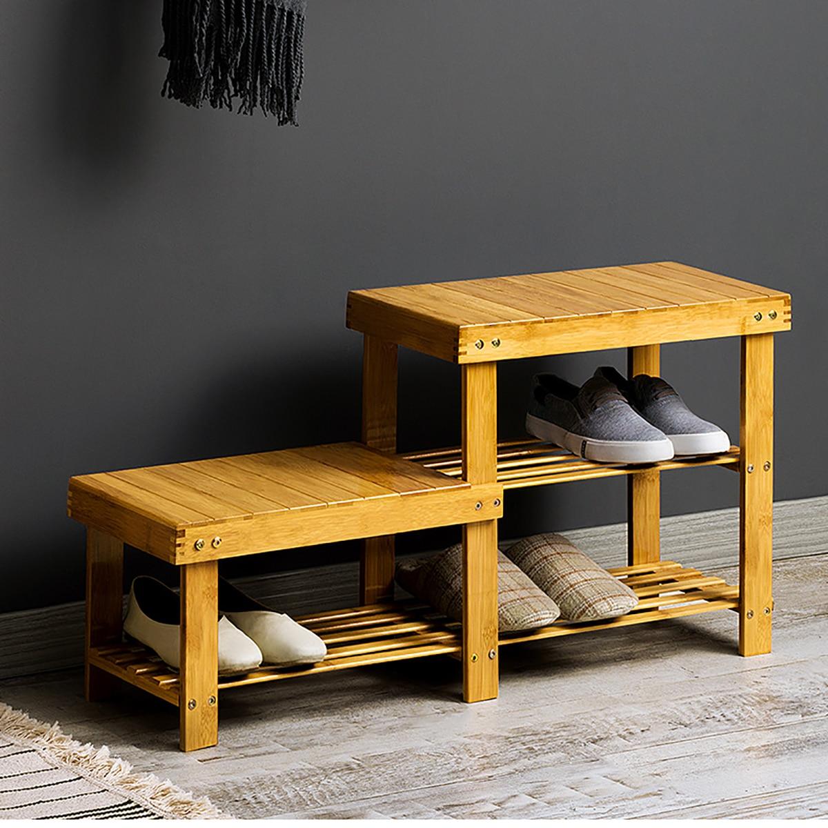 Wooden Multi Purpose Shoe Stools Shoe Rack Storage Benches Stools Porch Living Room door Convenient Multi Layer Shoe Organizer
