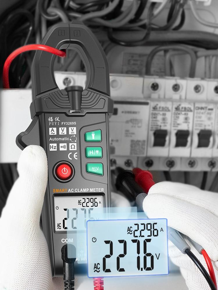 Цифровой зажим FUYI, Интеллектуальный автоматический измеритель емкости и емкости с функцией True RMS, Бесконтактный индикатор напряжения