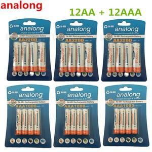 Analong AA Аккумуляторная батарея 2200mAh 1,2 V AA + ni-mh AAA батарея 1000mAh перезаряжаемые батареи смешанные цвета для игрушки питания