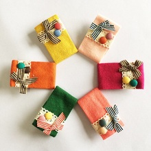 1Pcs/lot Sweet Candy Colored Knitted Hairpin Cute Kids Girl Plaid Ribbon Bow Hair Clips Accessories