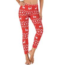 Christmas Day Women Yoga Pants Gym Fitness Elastic Trousers Running Breathable Pants Sports Leggings Printing Pants women fitness yoga pants sports running breathable printing elastic slim tight leggings plus size high waisted gym clothes yk30