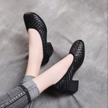 2019 Autumn vintage Genuine Leather Shoes hand-woven thick heel Women Elegant Fashion Woman High Heels
