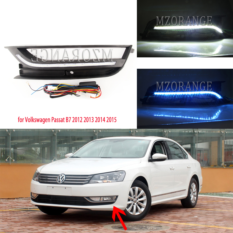 2PCS LED DRL Daytime Running Light Fog Lamp For VW Passat B7 2012 2013 2014 2015