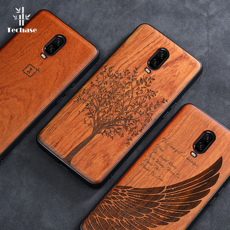 Techase Wooden Protective <font><b>Phone</b></font> Case For Oneplus 6T Cases Anti-Knock Shockproof Hard Back <font><b>Cover</b></font> For 1+ <font><b>One</b></font> <font><b>Plus</b></font> 5T <font><b>6</b></font> 7 7Pro Skin image