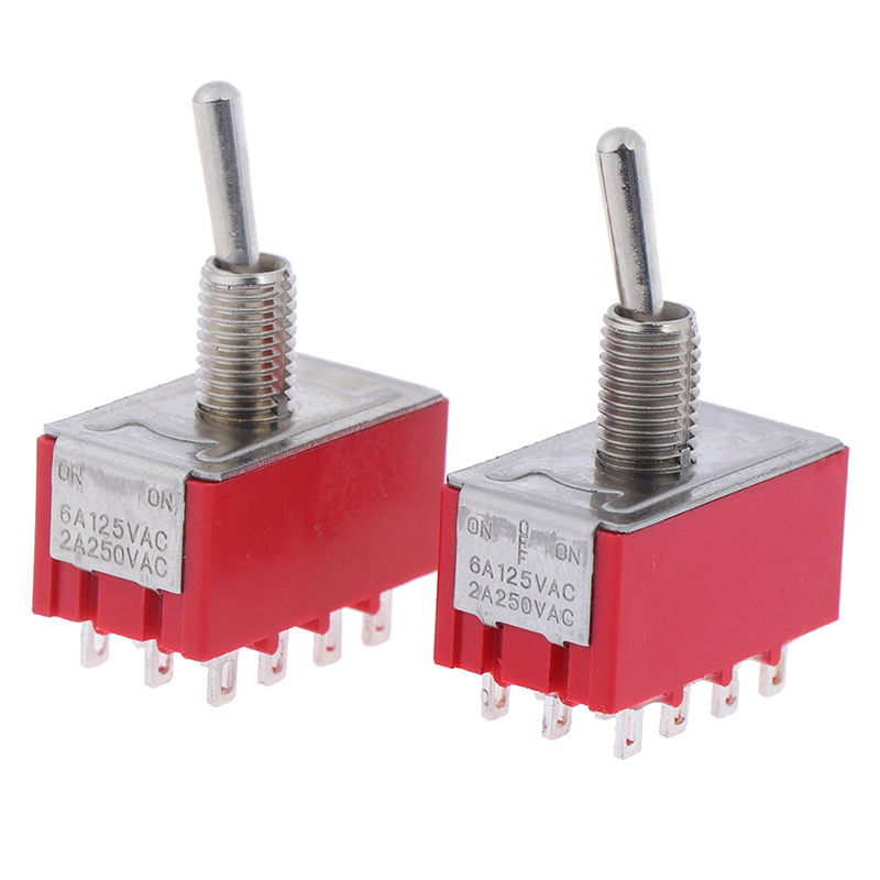 2pcs 12Pins 4PDT on on/on off on 2/3 Positions Mini Toggle Switch MTS 402 403 image