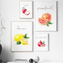 Watercolor Apple Lemon Pear Fruit Kitchen Wall Art Canvas Painting Nordic Posters And Prints Pictures For Living Room Decor