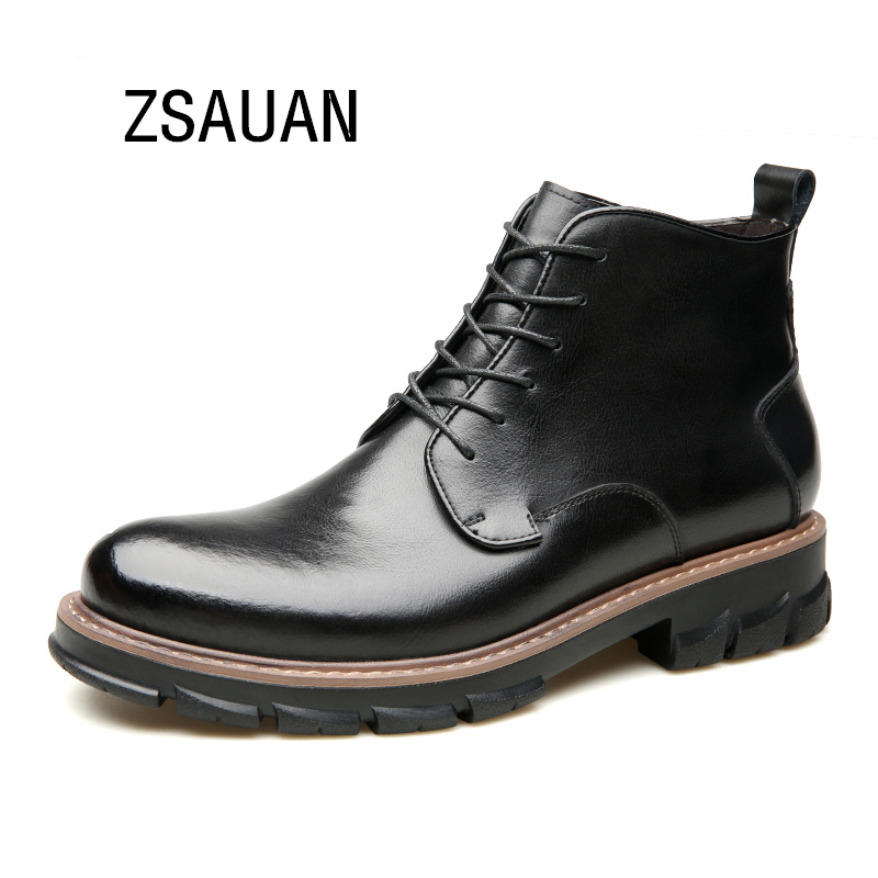 ZSAUAN Brand Men's Chelsea Boots Casual Winter Autumn Black Leather Ankle Booties Men Wedge Chukka Boots 2019 Men Shoes