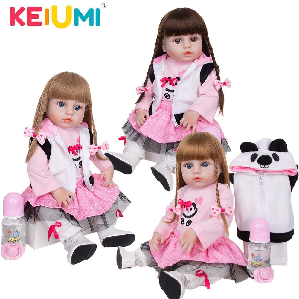 Keiumi mais novo 19 Polegada bebês reborn boneca realista adorável bebe reborn toodler banho brinquedo para crianças aniversário presentes de natal