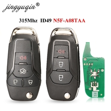 jingyuqin 3/4 Buttons Flip Remote Key Keyless Entry Fob 315MHz 49 Chip Hitag Pro for Ford Fusion 2013-2015 FCCID: N5F-A08TAA