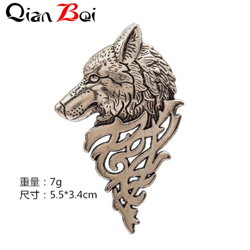 QianBei Spilla Moda Spilla Animale di Modo degli uomini Punk del Risvolto Del Collare Del Vestito Lupo Spille