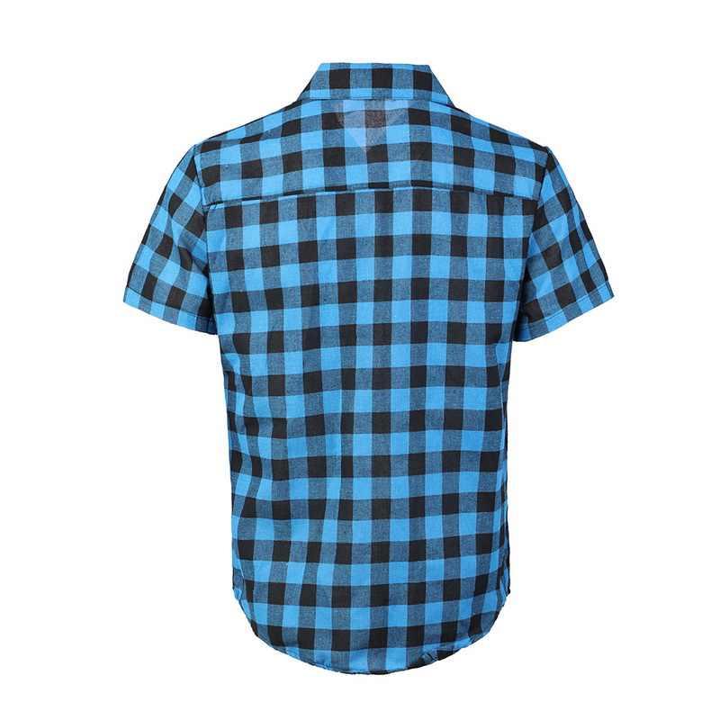 Puimentiua Plaid Kemeja Pria 2019 Musim Panas Busana Chemise Homme Pria Kotak-kotak Lengan Pendek Kemeja Pria Bahan Katun Blus