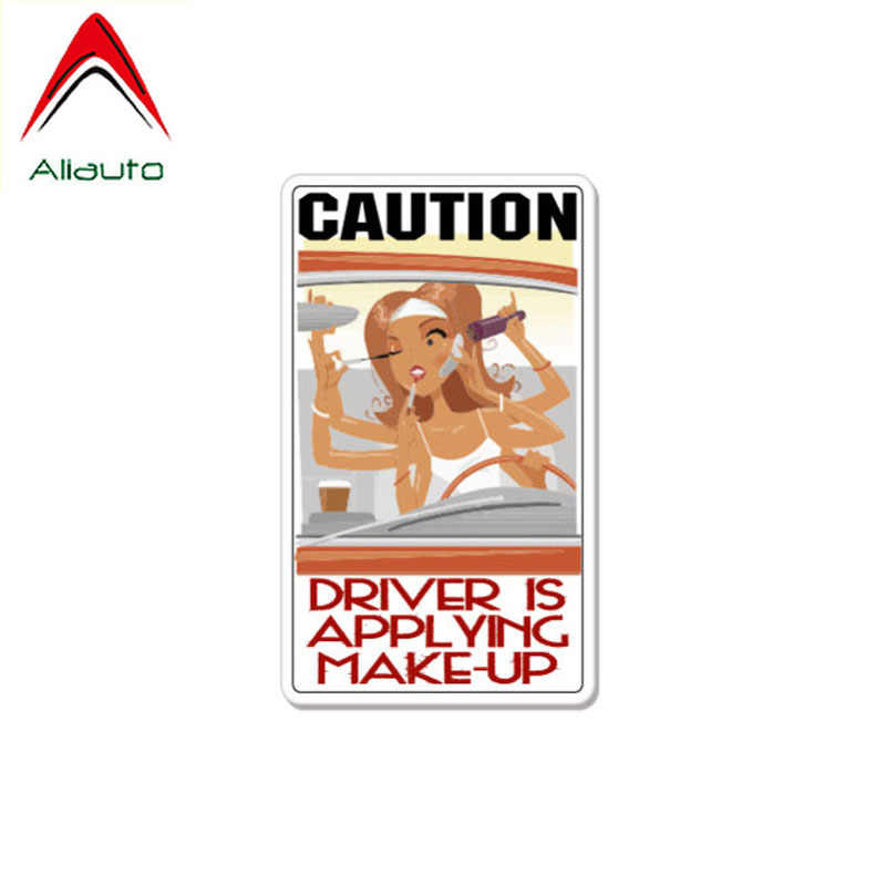Aliauto Kreatif Stiker Mobil Hati-hati Driver Menerapkan Make-Up Lucu Aksesoris PVC Decal untuk Porsche Mazda 6,13 CM * 8 Cm
