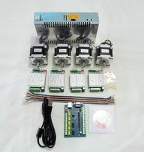 Cnc mach3 usb kit de 4 eixos, driver de motor de passo tb6600 + placa de controle usb, 5 eixos 100khz + motor nema23 57hs56 + 24v de potência fonte de fornecimento