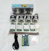Enrutador CNC Mach3 kit de 4 ejes USB, controlador de motor paso a paso TB6600 + Placa de control usb de 5 ejes 100KHZ + motor Nema23 57HS56 + fuente de alimentación 24V