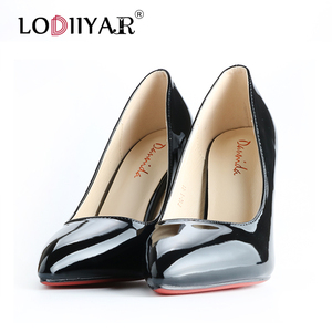 Image 2 - Pumps Women Shoes Pointed Toe  Red Bottom High Heels Patent Leather Classic Pumps Party Wedding High Heels Shoes Big Size Pumps