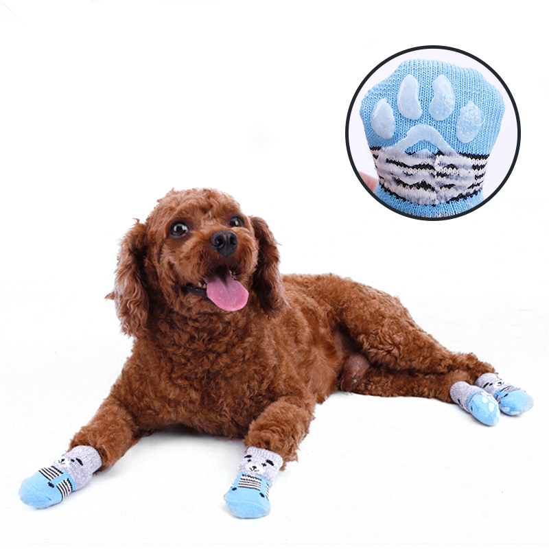 Winter Anti-Slip Pet Dog Socks Knit Socks Small Cat Dogs Warm Socks Chihuahua Thick Paw Protector Dog Socks Booties Accessories