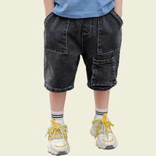 Letnie dżinsy chłopięce jeansy z elastyczną talią dla chłopców jednokolorowe dziecięce krótkie dżinsy Casual Style odzież dla chłopców 6 8 10 12 14 tanie tanio Honikuyi Na co dzień Pasuje prawda na wymiar weź swój normalny rozmiar 11N0148 Elastyczny pas Chłopcy Stałe REGULAR