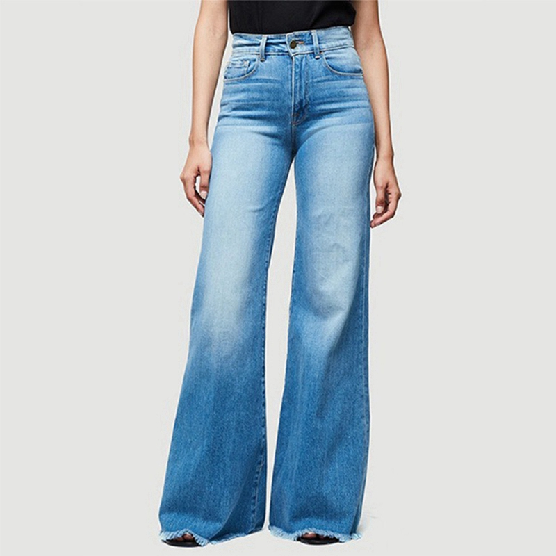 High Waist Stretch Female Flare Jeans Plus Size Denim Trousers Wide Leg Long Jeans Skinny Jeans Women Bell Bottom Jeans Pants