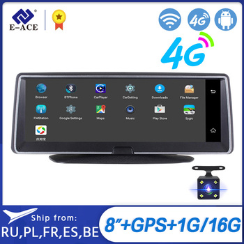 E-ACE DVR para coche 8 pulgadas cámara automática 4G Android FHD 1080P Video grabadora GPS navegación ADAS Monitor remoto cámara de salpicadero lente Dual DVRs