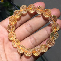 12mm Natural Yellow Citrine Bracelet For Women Men Wealthy Gemstone Crystal Loop Beads Stretch Fashion Bracelet Jewelry AAAAA