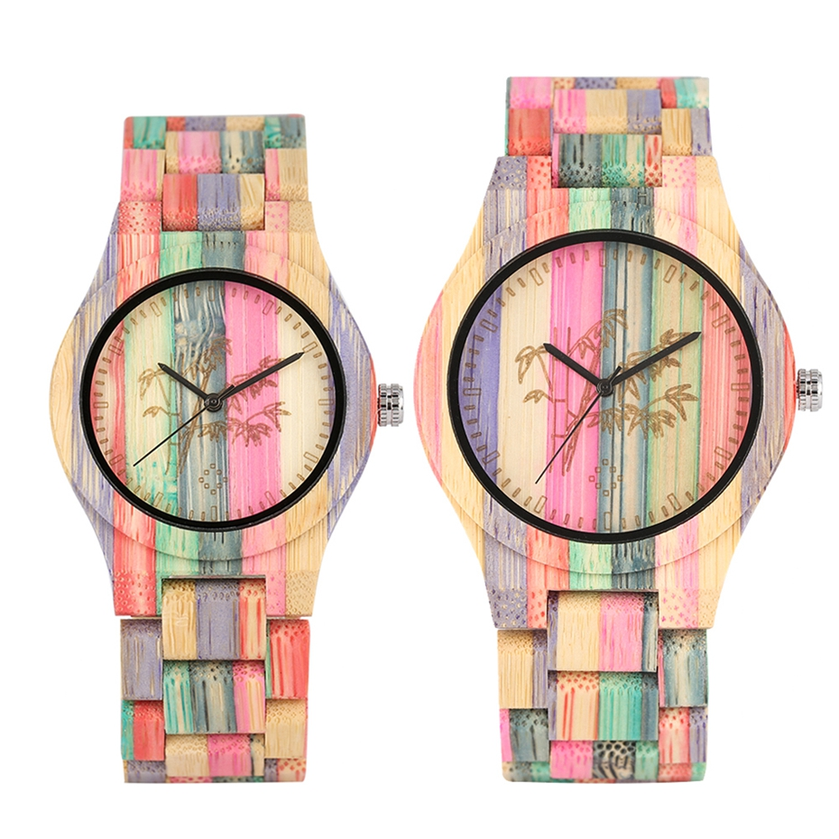 Lover's Watch Carving Plant Bamboo Pattern Wooden Watch Colorful Full Wood Bangle Clock Male Quartz Female Watches Souvenir Gift