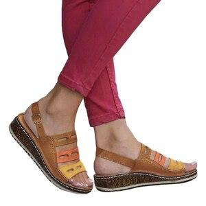 Dropshipping Summer Sandals Women Flat Ladie PU Leather Wedges Shoes Sandals Casual Flip Flop Femme Platform Sandals 2019(China)
