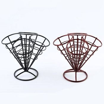 New 4In1 French Fry Stand Cone Basket Holder Black Iron Rack Ice Cream Shape Food Shelves Bowl Kitchen Potato Fries Chips Appeti image